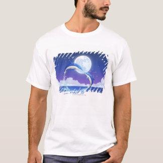T-shirt Deux bouteille-ont flairé sauter de dauphins de