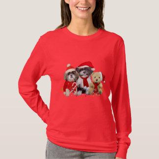 T-shirt Deux chiens de Shih Tzu de Noël et ours de