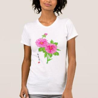 T-shirt Dhalia tiré par la main sur des couleurs claires