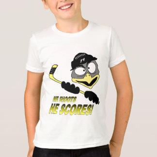 T-shirt d'hockey de pingouin de la jeunesse