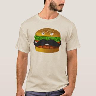 T-shirt d'homme d'hamburger de moustache