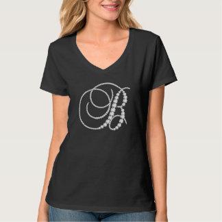 T-shirt Diamant-Monogramme de scintillement élégant de la