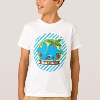 T-shirt Dinosaure de Triceratops ; Rayures de bleu et de