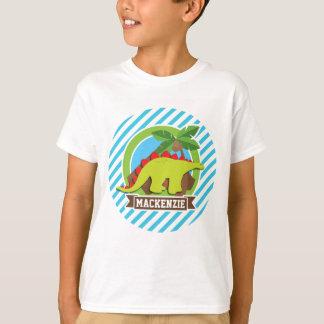 T-shirt Dinosaure vert et rouge de Stegosaurus ; Bleu et