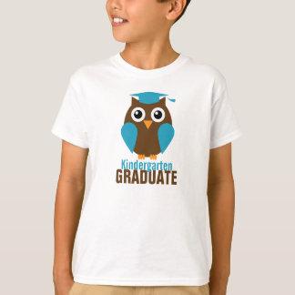 T-shirt Diplômé bleu mignon de jardin d'enfants de hibou