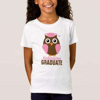 T-Shirt Diplômé rose doux de jardin d'enfants de hibou