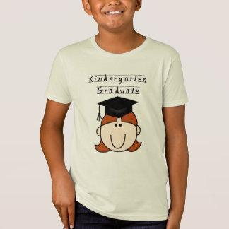 T-Shirt Diplômé rouge de jardin d'enfants de fille de