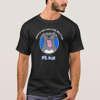 T-shirt Doit être un pitbull, bleu sur le noir
