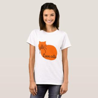T-shirt d'orange de chat de bande dessinée de