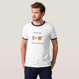 T-shirt Double hamburger de lard d'E= avec du fromage