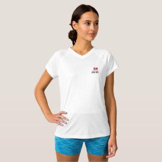 T-shirt Double-Sec de blanc de V-Cou de logo du