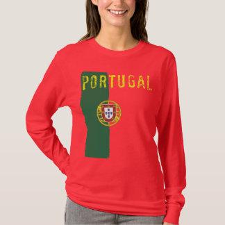 T-shirt Douille de dames de drapeau du Portugal longue