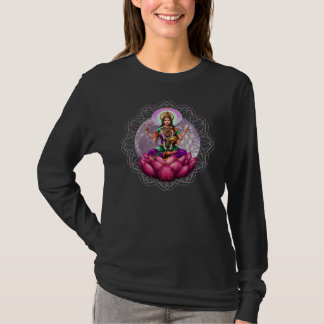 T-shirt Douille de dames de mandala de fortune de Lakshmi