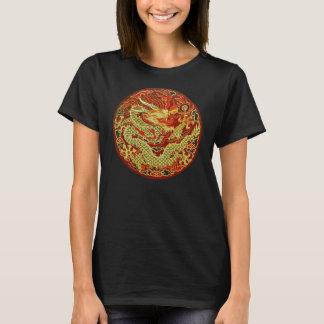 T-shirt Dragon asiatique d'or brodé sur rouge foncé