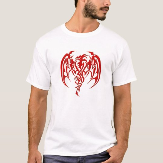 T-shirt Dragon tribal rouge