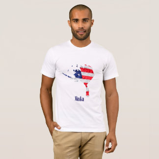 T-shirt Drapeau américain Alaska Etats-Unis
