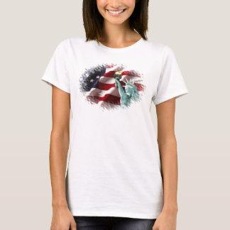 T-shirt Drapeau américain avec l'Américain Eagle et Madame
