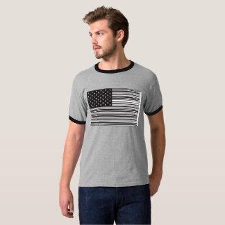 T-shirt Drapeau américain de crâne de code barres