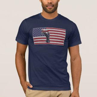 T-shirt Drapeau américain de lamantin sur le bleu marine