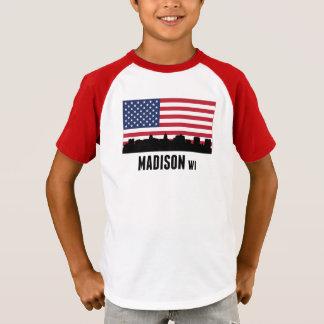 T-shirt Drapeau américain de WI de Madison
