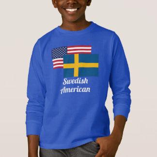 T-shirt Drapeau américain et suédois