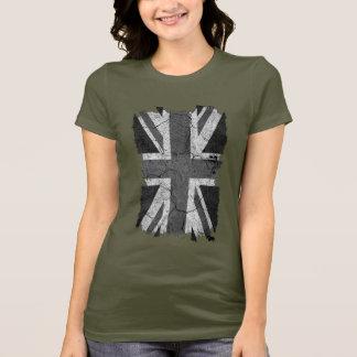 T-shirt Drapeau BRITANNIQUE de monochrome sale en lambeaux