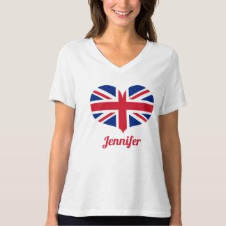 T-shirt Drapeau BRITANNIQUE en forme de coeur  