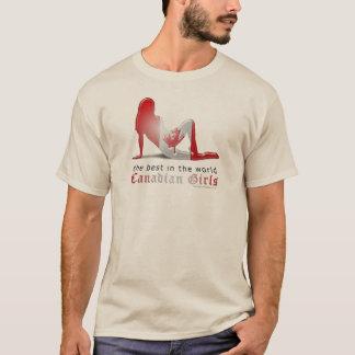 T-shirt Drapeau canadien de silhouette de fille