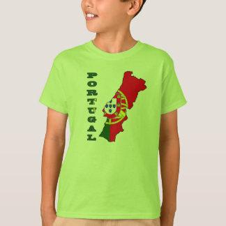 T-shirt Drapeau dans la carte du Portugal