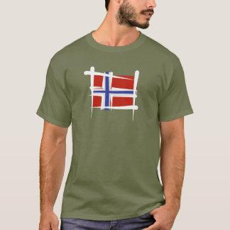 T-shirt Drapeau de brosse de la Norvège