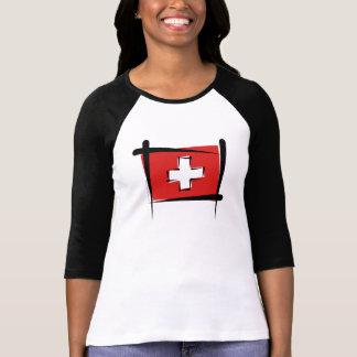 T-shirt Drapeau de brosse de la Suisse