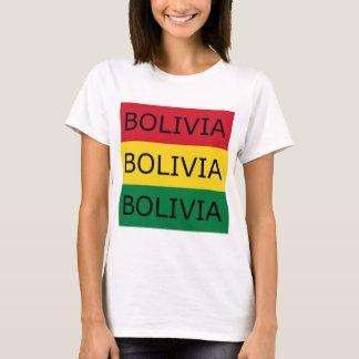 T-shirt Drapeau de carré des textes de la Bolivie