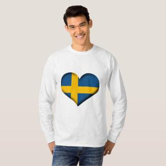 T-shirt Drapeau de coeur de la Suède