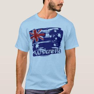T-shirt Drapeau de l'Australie peint rétro par grunge