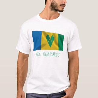 T-shirt Drapeau de ondulation de Vincent de saint avec le