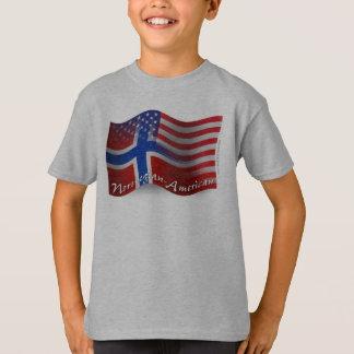T-shirt Drapeau de ondulation Norvégien-Américain