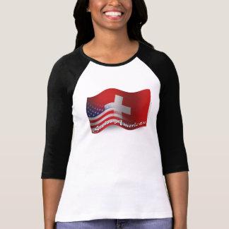 T-shirt Drapeau de ondulation Suisse-Américain