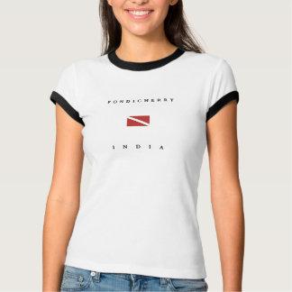 T-shirt Drapeau de piqué de scaphandre de Pondicherry Inde