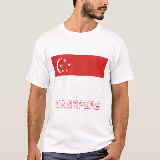 T-shirt Drapeau de Singapour avec le nom