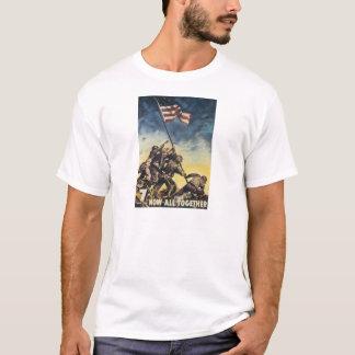 T-shirt Drapeau d'Iwo Jima soulevant le cru de graphique