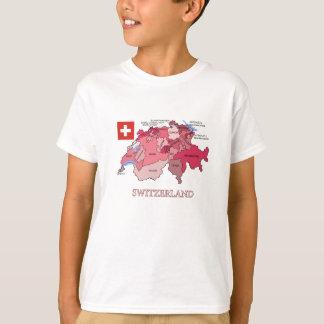 T-shirt Drapeau et carte de la Suisse