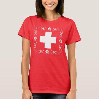 T-shirt Drapeau et edelweiss suisses