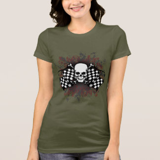 T-shirt drapeau-floc Crâne-checkered