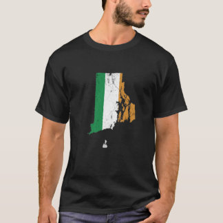 T-shirt Drapeau irlandais au-dessus d'Île de Rhode