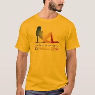 T-shirt Drapeau roumain de silhouette de fille