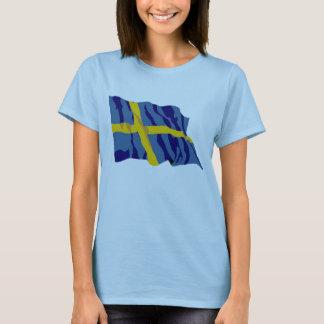 T-shirt Drapeau suédois de ondulation