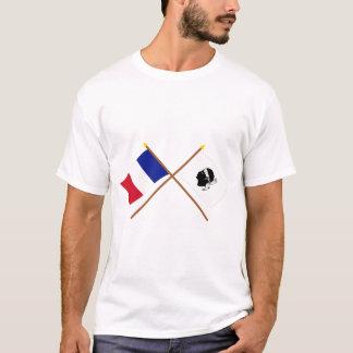 T-shirt Drapeaux croisés de la France et de La Corse