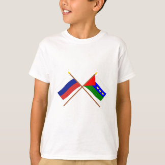 T-shirt Drapeaux croisés de la Russie et de Tyumen Oblast