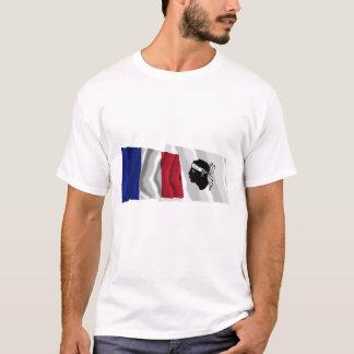 T-shirt Drapeaux de ondulation de la France et de Corse
