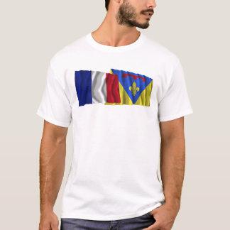 T-shirt Drapeaux de ondulation de la France et de variété